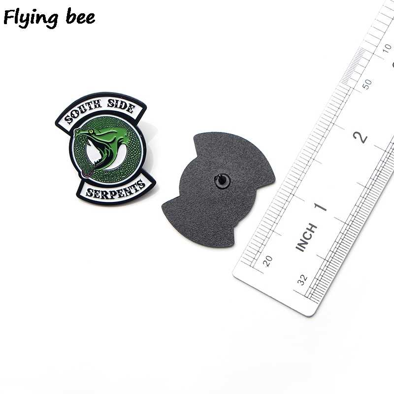 Flyingbee Riverdale Green Snake Enamel Pin For Clothes Bags Backpack badge Personality Brooch Shirt Lapel Pins X0195