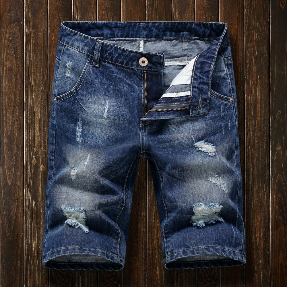 Denim Shorts Bermuda Clothing Ripped Jeans Brand Male Mens Summer New-Fashion Breathable