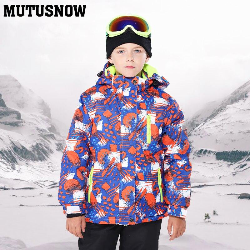 Enfants de Veste de Ski D'hiver Enfants Coupe-Vent Imperméable À L'eau Chaude Ski Costume Garçon Habit de Neige-30 Unique Conseil Double Veste