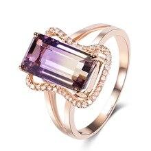 beautiful rose gold jewelry purple crystal stone wedding band rings women fashion