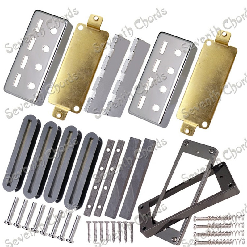A Set Bass Pickup Kits Producing Accessories Chrome Brass Pickup Cover  Baseplate  Magnet  Plastic Pickup Ring  Bobbin belcat bass pickup 5 string humbucker double coil pickup guitar parts accessories black