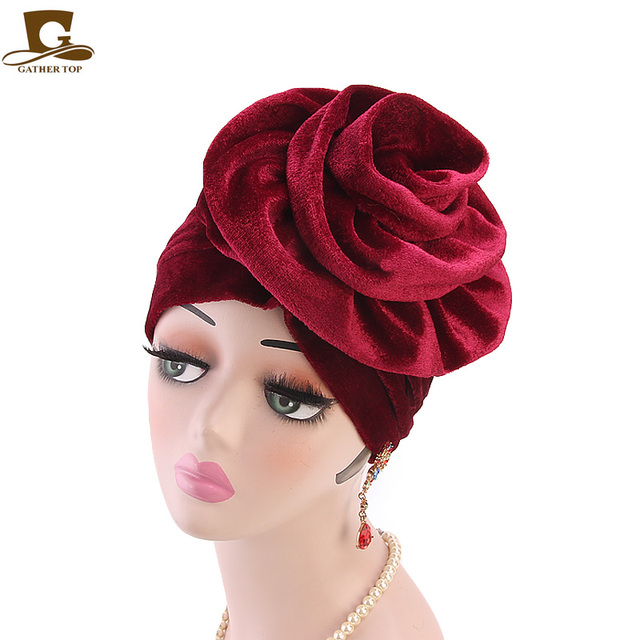 b3e72b2c4c2 New fashion king flower velvet turban women headbands Bonnet Chemo Cap  Muslim Scarf Hijab Islamic Turbante hair accessories