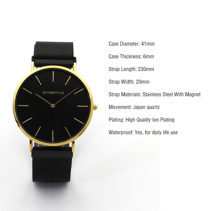 2017 Luxury Watches men magnet Ultrathin Mesh Stainless Steel Band gold 2 hands Wrist Watch Mens Quartz Watch clock Montre Homme hot sale the fifth 2017 high quality brand watch men ladies watches gold mesh band wrist watch for women montre homme de marque