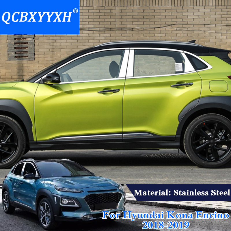 QCBXYYXH Car Styling Stainless Steel Full Window Trim Decoration Strips Sequins For Hyundai Kona Encino 2018