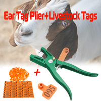 1 Pcs Green Pig Ear Tag Pliers for Goat Cattle Animal Ear Tag Pliers Alloy + 100x Livestock Sheep Pig Anima Ear Tags ID Lables
