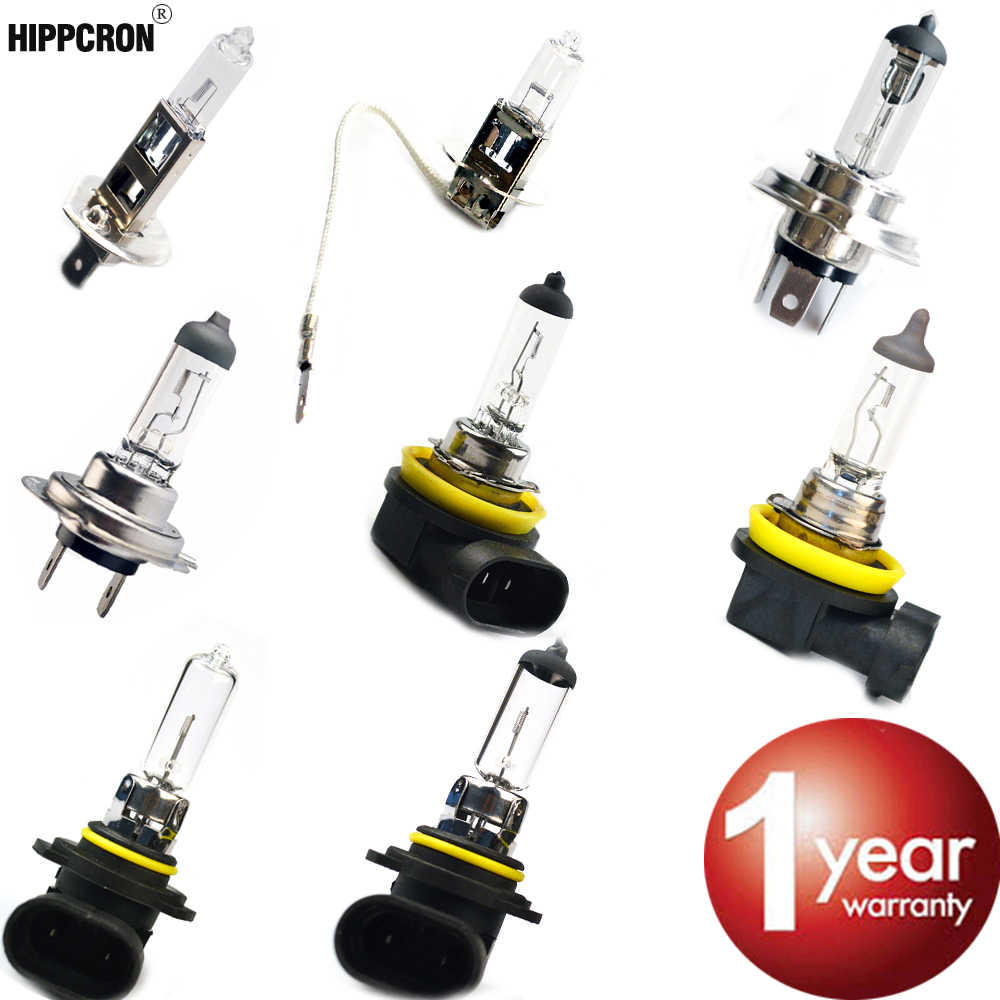 Hippcron Car Headlight Super Bright Halogen Bulb 1PCS H1 H3 H4 H7 H8 H11 9005 HB3 9006 HB4 12V 4000K Clear Lights Driving Lamp