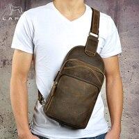 LAPOE Для мужчин Курьерские Сумки из натуральной кожи Для мужчин Сумки Груди Пакет Слинг Грудь кожа сумки на плечо коричневый Crossbody сумки для Д