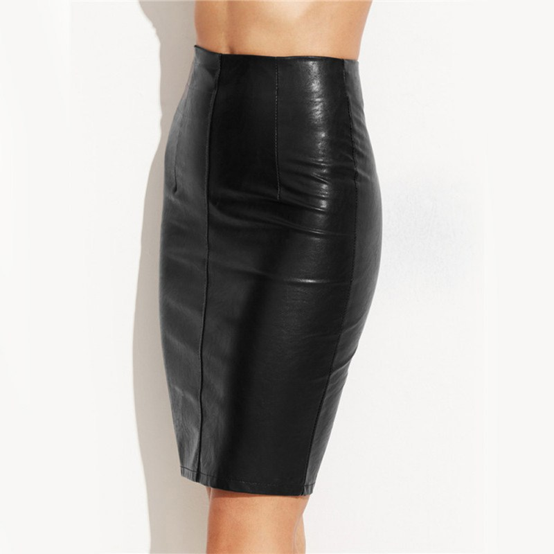 Fashion Women Skirts 2017 Female Sexy Punk High Street Stylish Black Bodycon Skirt Women Spring Summer PU Leather Skirt
