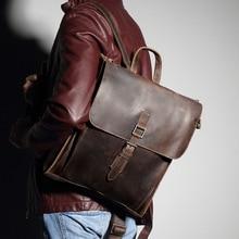 Men Backpacks Retro Crazy Horse Leather Top Layer genuine Leather Men's Laptop shoulder bags Leisure Travel Backpack Brown