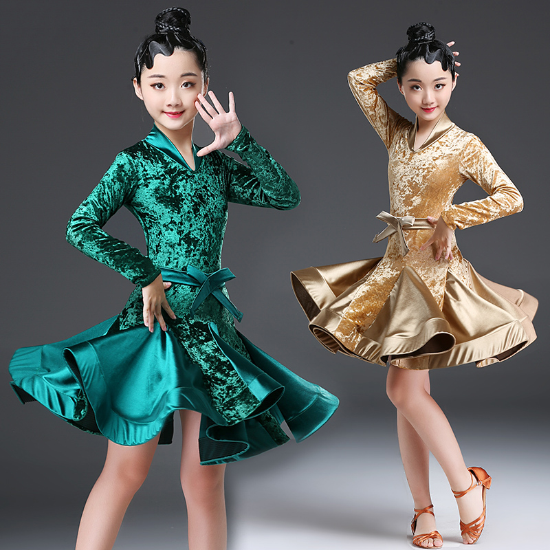 Latin Dance Dress For Girls Long Sleeve Velvet Samba Tango Salsa Cha Cha Children Competition Stage Latin Dancing Dresses DN2706