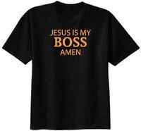 Personnalité Classique Coton Hommes Col Rond Jésus Est Mon Patron Amen T-shirt 3D Hommes Chaude Pas Cher À Manches Courtes Homme T-shirt
