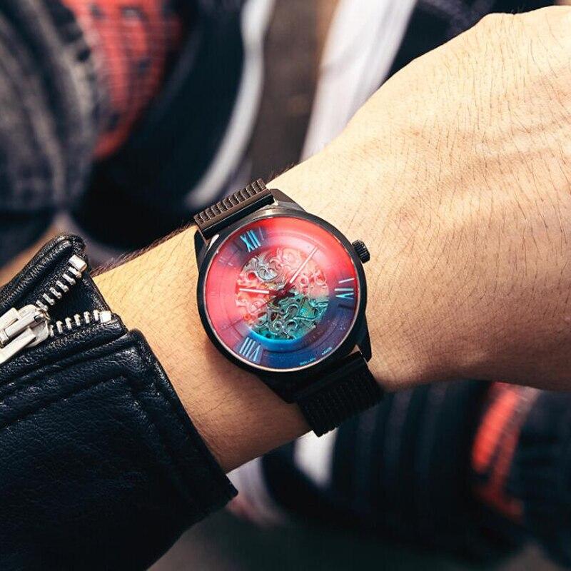 SOLLEN hommes montres Top marque de luxe automatique squelette montre hommes mécaniques hommes montres bracelet décontracté caoutchouc casual horloges mannen