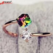 Arvato 2018 nueva moda ajustable apertura Anillos para las mujeres ZIRCON Piedras anillo de compromiso de boda joyería Accesorios regalo