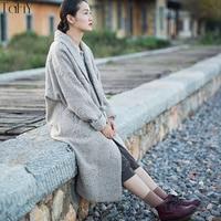 TaFiY 2017 Winter Women Jackets Vintage Wool Coat Jacquard V neck Slingle Handmade plate buttons Loose Long Woolen Women Coat