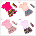 2016  New designs boutique clothing set   baby girls clothes set summer pompom t shirt short pant headband boutique clothing set