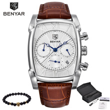 BENYAR Sports Military Men Watches 2017 Top Luxury Brand Man Chronograph Quartz-watch Leather Army Male Clock Relogio Masculino