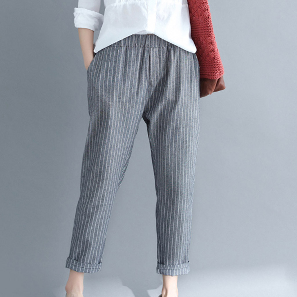 Pants Women Casual Stripe Cotton Linen Pant Loose Trousers Solid color Elastic Band Harem Plus Size Capri Pants High Quality