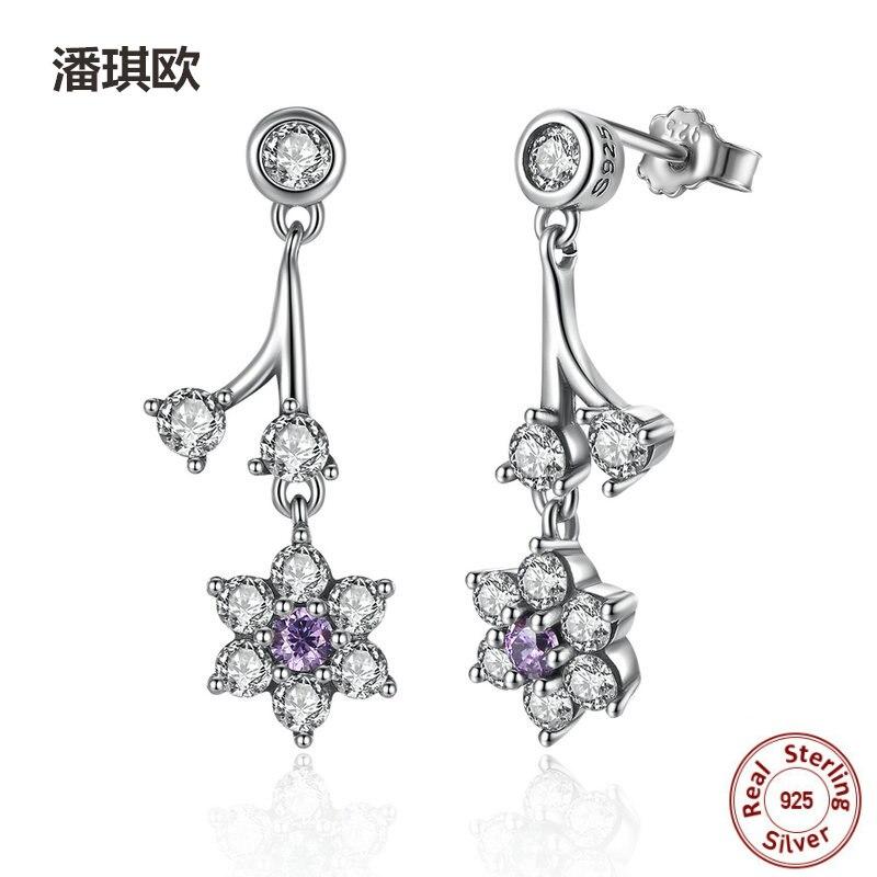 Luxury Fine 100% 925 Sterling Silver Austrian purple crystal Drop Earrings For Women Compatible with pan jewelery Earring