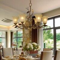 Living room restaurant Retro Iron Art led Chandelier bedroom book room bird creative chandelier clothing store glass chandelier