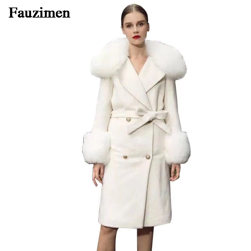 2019 Autumn and Winter Pure Wool Coat Casual Fox Fur Collar Cardigan Handmade Cashmere Double Sided