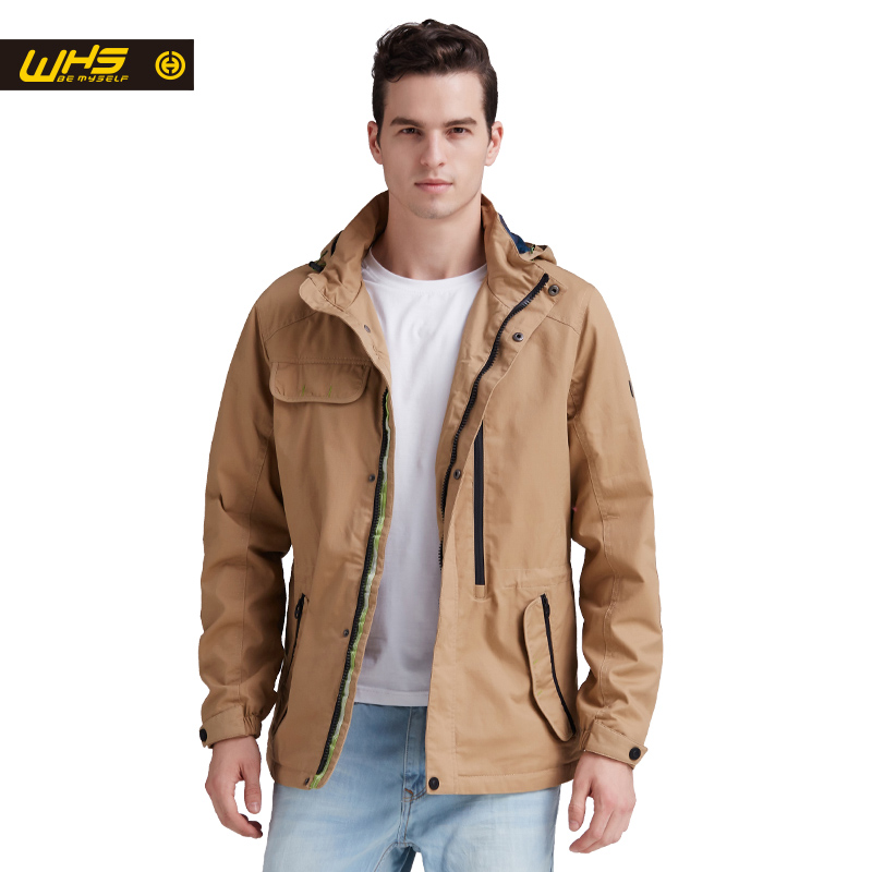 WHS New Men warna Multicolor jaket kapas nipis berkhemah windproof musim panas kot musim bunga Lelaki pakaian kapas panjang musim luruh musim luruh