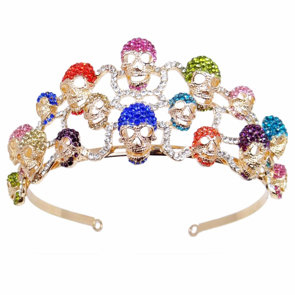 Bella Fashion Halloween Skull Bone Skeleton Hairband Head Tiara Crown Austrian Crystal Rhinestone Hairband Party Jewelry Gift