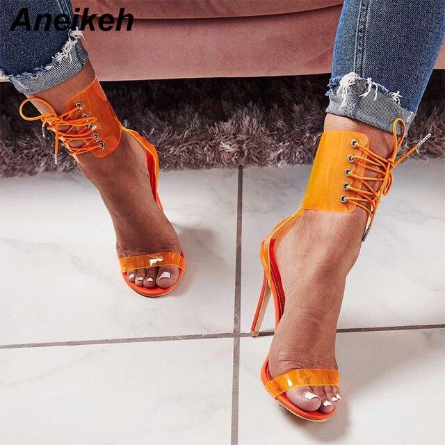 Aneikeh sandalias de verano serpentina bombas de alto tacón abierto del dedo del pie Club tobillo Cruz Correa transparente zapatos de sandalias