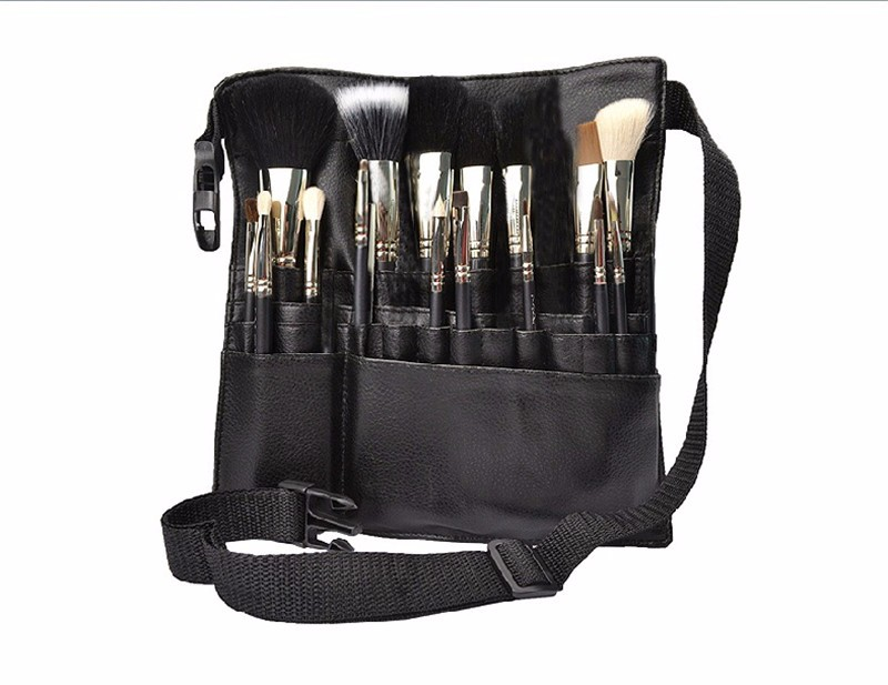 Professional Cosmetic Makeup Brush PVC Apron Bag Artist Belt Strap Portable Make...