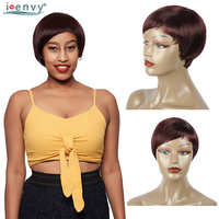 Chic Burgundy Short Human Hair Wigs With Bangs Colored 99J Brazilian Straight Wig 180 Density 100% Remy Human Hair Short Bob Wig
