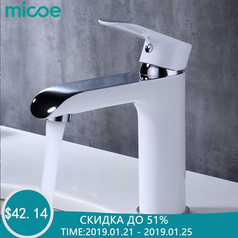 MICOE torneira do banheiro mixer bacia torneiras lavatório torneira latão cromado vessel sink cachoeira bacia torneiras água quente e fria branco