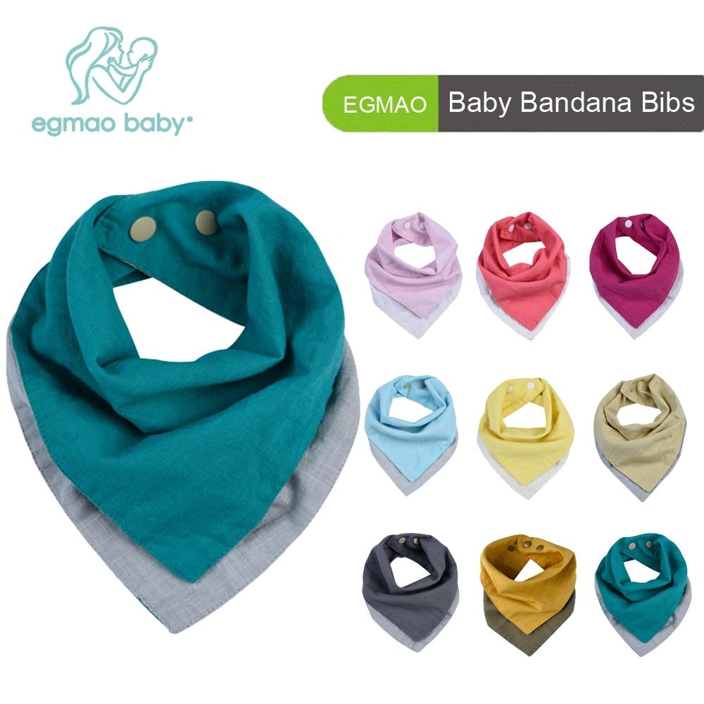 4Pcs/ Pack 2 Colors Reversible Muslin & Cotton Baby Bibs Unsiex Baby Accessories Newborn Baby Bandana Bibs Baby Saliva Towel