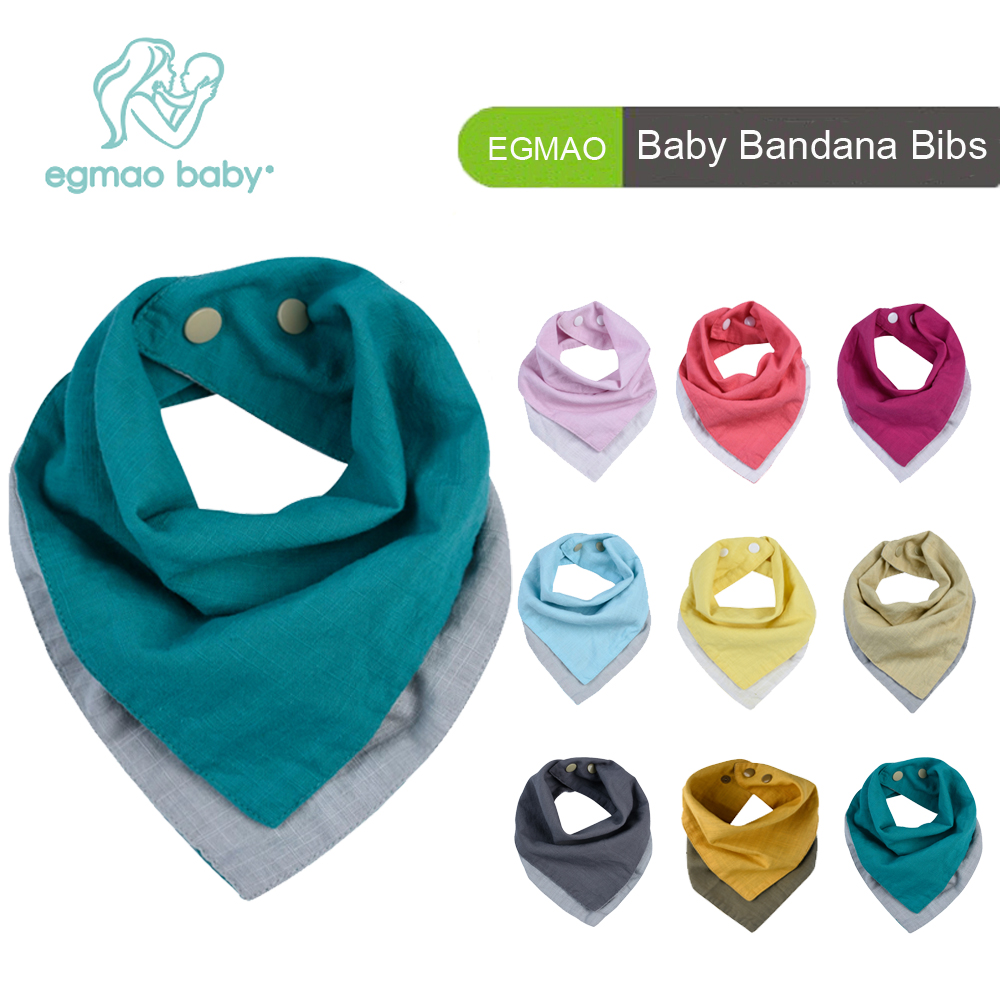 4Pcs/ Pack 2 Colors Reversible Muslin & Cotton Baby Bibs Unsiex Baby Accessories Newborn Baby Bandana Bibs Baby Saliva Towel miracool neck bandana re usable 100 s of times keeps you cool red 2 pack