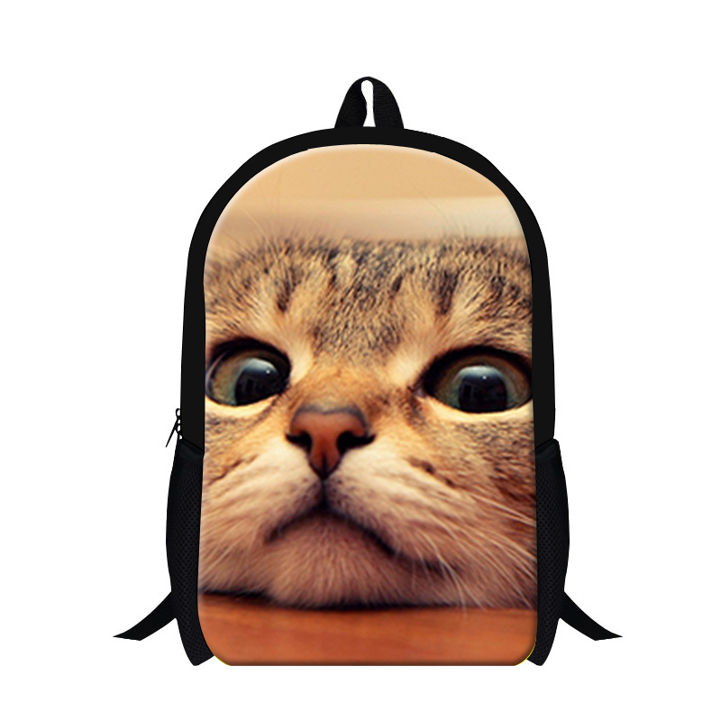 New arrival cool cat printing school backpack for boys,Lightweight back pack fashion black bag with pocket for teens travel