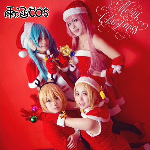 Christmas Custom Made Cosplay Costume Hatsune Miku and Megurine Luka Whole family Sexy Red christmas Dress+Hat+Gloves Full Sets