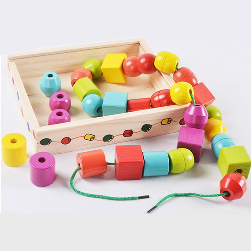 Baby Toys Education Geometric Assembling Blocks 30Pcs Large String Beads Wooden Toys Wooden Storage Box Montessori Birthday Gift lego education 9689 простые механизмы