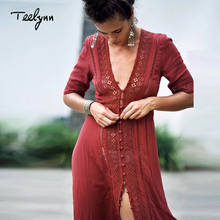 TEELYNN Boho long dress 2018 new vintage Floral Lace stitching sexy v-neck summer Dresses beach wear hippie Women dress vestidos