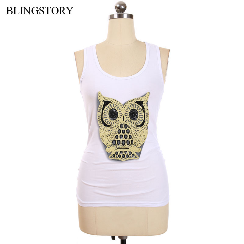BLINGSTORY Plus Size Tank Top Women Thin Sleeveless Elastic Cotton Knitted Embroidery Owl Vest Basic Tops XXXXXL LP49939A