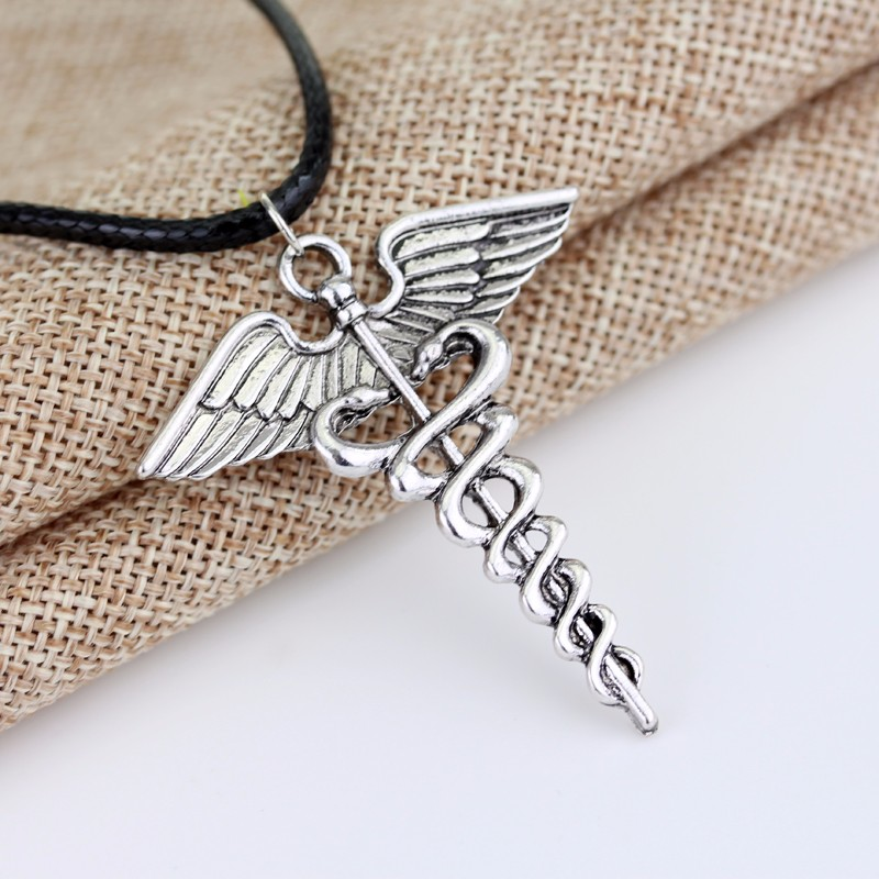 Silver Plated Medical Symbol Nurse Doctor Pendant Caduceus Necklace