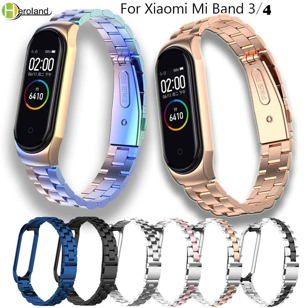 New Stainless Steel Mi 3 Wrist Strap For Xiaomi Mi Band 3 4 Metal Watch Band Smart Bracelet Miband 3 Belt Replacement+Metal Case