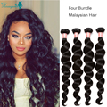 Malaysian Virgin Hair Loose Wave Human Hair Extensions 4Pcs/ Lot Human Hair Weave Rosa Queen Hair Products Weave Bundles