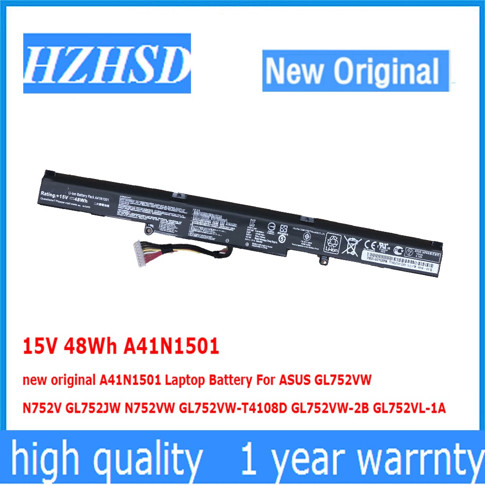 15V 48Wh A41N1501 new original A41N1501 Laptop Battery For ASUS <font><b>GL752VW</b></font> N752V GL752JW N752VW <font><b>GL752VW</b></font>-T4108D <font><b>GL752VW</b></font>-2B GL752VL image