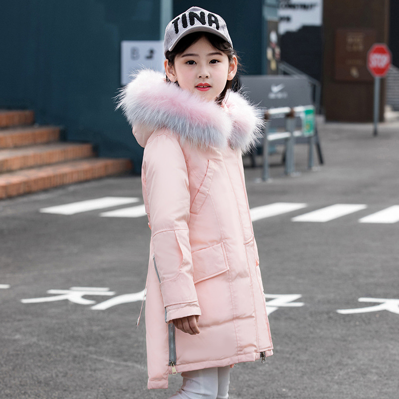 winter baby girl fasion jacket pink fur warm baby jacket casual 80% White Duck Down Hooded Zipper Solid Long coat children pink casual sleeveless hooded top
