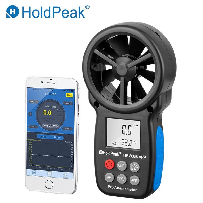 HoldPeak HP-866B-APP 0,3 ~ 30 м/с цифровой анемометр с мобильным приложением ветер Скорость измерения метр мера Температура тестер инструменты
