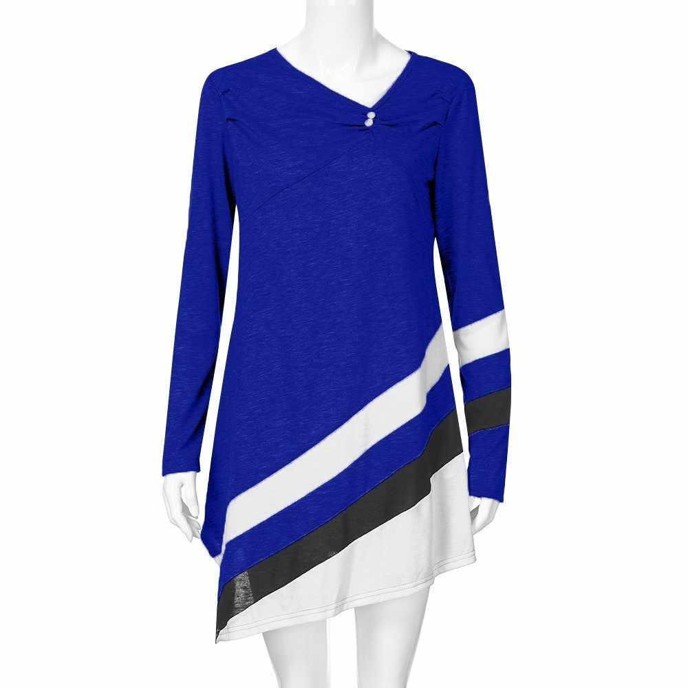 Artı boyutu elbise kadın sonbahar çizgili üstleri gömlek moda rahat Asymmtrical üstleri artı boyutu bluz Camisa Feminina/PY