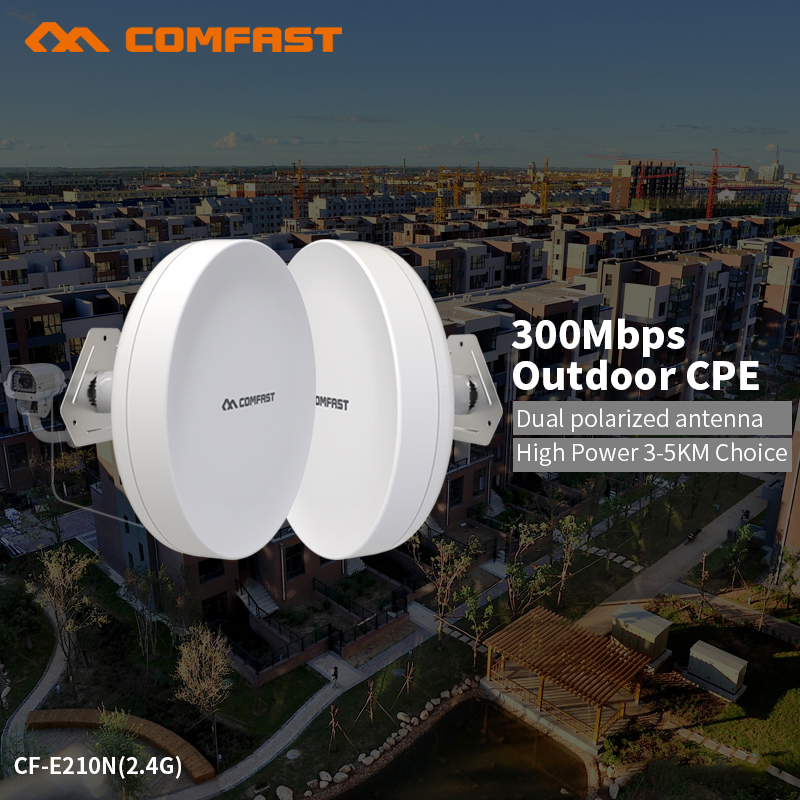 COMFAST 300mbps Wifi Router Outdoor CPE Wireless Repeater Router built in Dual Polarized Antenna For Long Range Project CF-E210N