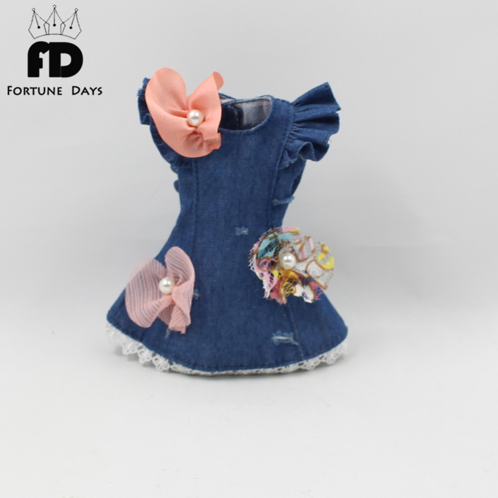 Free shipping suitable blyth doll lace bow flower dress blue clothes bow bow detail longline dress