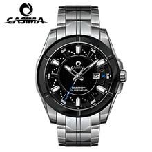 Casima de luxe hommes d'affaires top marque argent acier quartz-montre chronographe lumineux date horloge hommes de mode casual montre-bracelet