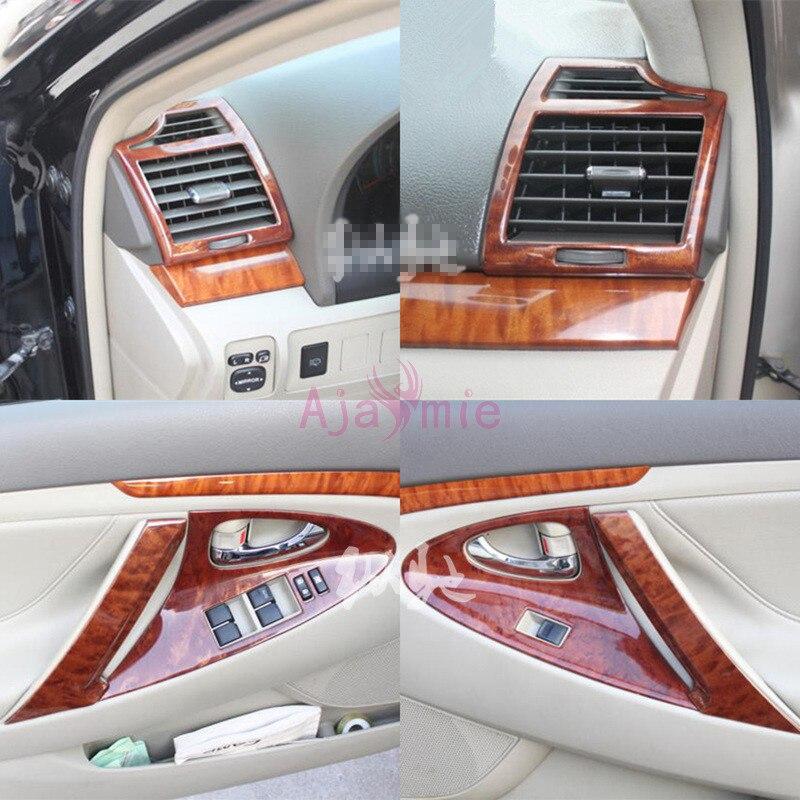 Pour Toyota Camry 2006-2011 intérieur en bois couleur intérieur moulure garnitures panneau cadre superposition paquet voiture style accessoires