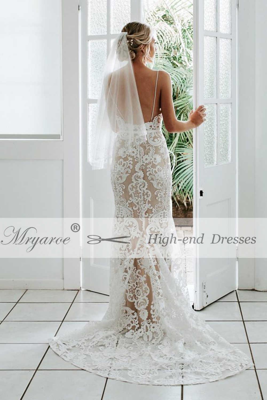 ... Mryarce 2019 Luxury Exquisite Lace Mermaid Wedding Dress Spaghetti  Straps Open Back Bridal Gowns ... e320da7aed13