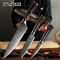 XITUO 8 5 3,5 Cuchillo de chef japonés conjunto de 3 piezas de acero de Damasco patrón cuchillos de cocina cuchillo cocina Santoku corte de